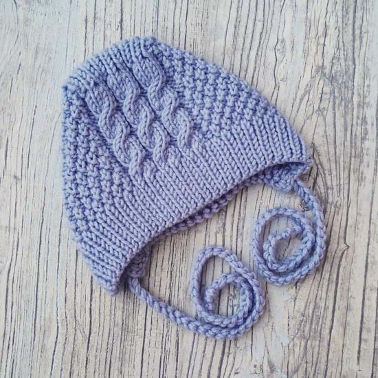 Вязаная шапочка меринос Косы голубая