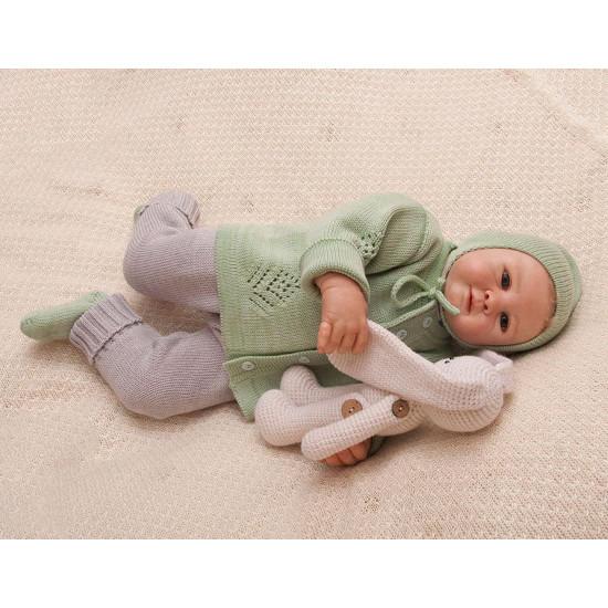 Вязаный комплект для малышей Нежность зеленый